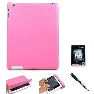 Pink Folio Styled Durable Faux Leather Shell Case and Stand with Auto