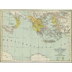Cram 1892 Antique Map of Ancient Greece Office Products