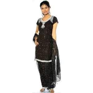 Black Patiala Salwar Kameez with Beads and Embroidery