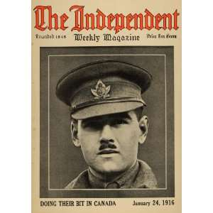 1916 Cover Jan. Independent Canadian Army Officer WWI   Original Cover