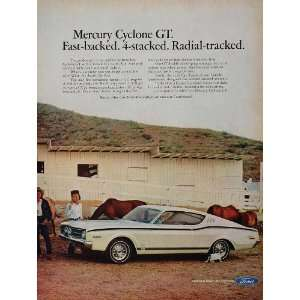 1968 Ad White Ford Mercury Cyclone GT Muscle Car