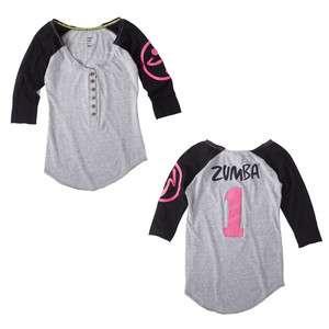 ZUMBA Zweet Baseball Tee Shirt Top Black/Gray ALL SIZES New Spring