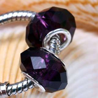 DARK PURPLE CRYSTAL GLASS FACETED BIG HOLE BEADS C45