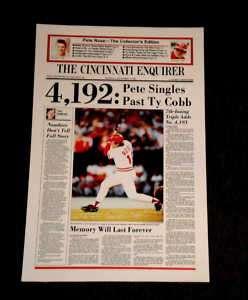 PETE ROSE 4192 CINCINNATI NEWSPAPER COVER POSTER REDS