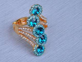 Wing Tidal Wave Blue Whiet Crystal Rhinestone Flower Fashion