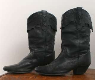 Vtg Laredo Black Boots Leather Western Cowboy 7.5 8