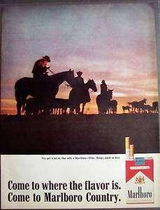 1966 cowboy & horse silhouettes Marlboro Cigarette ad