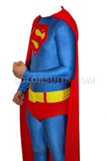 Superman Costume Lycra Zentai Full Body   Suit Belt Cape   Ships from
