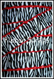 RED MOON STITCH BLACK WHITE ZEBRA ANIMAL PRINT GROSGRAIN RIBBON