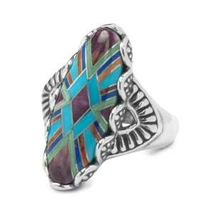 Pollack Sterling Silver Turquoise Channel Inlay Serenity Ring Jewelry