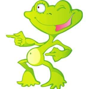 Childrens Wall Decals   Cute Green Cartoon Frog   24 inch