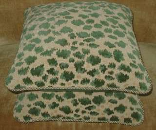 Brunschwig Fils Cut Velvet Fabric Custom Designer Pillows Green New 2