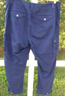RALPH LAUREN LRL COLLECTION NAVY BLUE CROP CAPRI CARGO COTTON PANTS