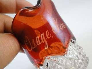 Antique EAPG Ruby Flash Souvenir Cup Creamer Glass Osage IA Iowa