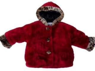 Girls Red Leopard Faux Fur Hooded Winter Coat Sz 12M