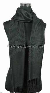 Ply Jacquard 100% Cashmere Shawl Wrap Scarf, Black XL