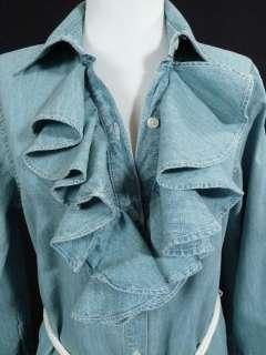 NEW Ralph Lauren Womens Chambray Denim Ruffle Dress SMALL w/ Rope Belt
