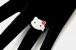 NEW Hello kitty Red Flower swarovski cute Ring ~~~