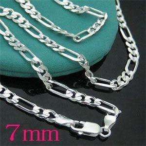 XMAS Gift 18inch~24inch 7MM Figaro Silver EP Mens Chain