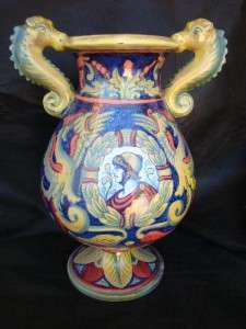 ANTIQUE 1900 ITALIAN MAJOLICA FAIENCE ART POTTERY GUALDO TADINO VASE