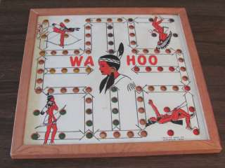 1900s Original WAHOO Indian Creative Idea Wood Marble Checkers board