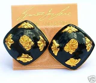 KENNETH JAY LANE BLACK & GOLD**BEE & ROSE** EARRINGS