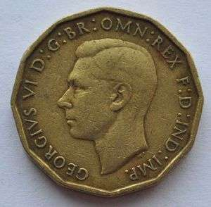 1942 UK Great Britain 3 Pence Beautiful Coin King George VI