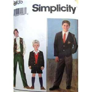 Simplicity Sewing Pattern 8635 Boys Pants or Shorts, Lined Vest