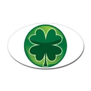 Sticker (Oval) Shamrock Four Leaf Clover