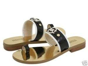Michael Kors DAYTON Black White Toe Ring Gold MK Logo Flats Shoes US 6