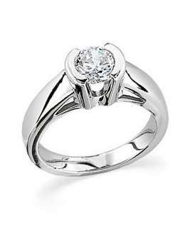 00 CT BRILLIANT ROUND CATHEDRAL HALF BEZEL SET ENGAGEMENT RING SOLID