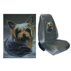 Car Truck SUV Yorkshire Terrier Dog Print Seat Covers 2 Grey Universal