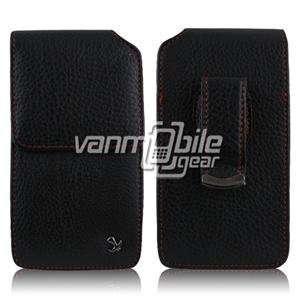 VMG BlackBerry Torch 9850/9860   Black Vertical Leather Case w/ Red