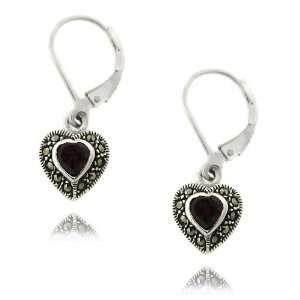 Silver Marcasite Simulated Garnet Heart Leverback Earrings Jewelry