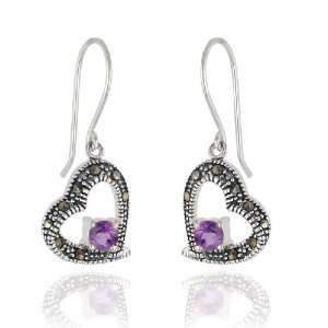 Sterling Silver Marcasite and Amethyst Heart Earrings Jewelry