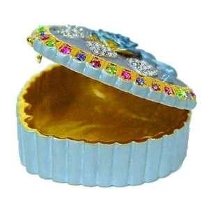 Blue Camellia Box Swarovski Crystals 24K Gold Jewelry Flower Trinket
