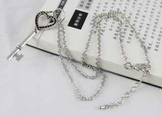 PCS Tibetan Silver Heart Key Pendant Necklaces