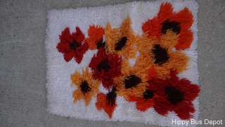 Century Danish Modern Orange Browns Poppy Latch Hook Rug SHAG vintage