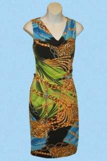 Joseph Ribkoff 20707 Multi Color Printed Cocktail Dress Sz 12 14 UK 14