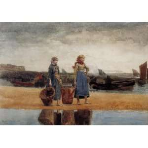 Oil Painting Two Girls at e Beach, Tynemou Winslow