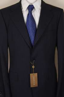 GUCCI SUIT $2195 NAVY/BLUE DUAL STRIPED 3 BTN WOOL SUIT 42R 52e NEW