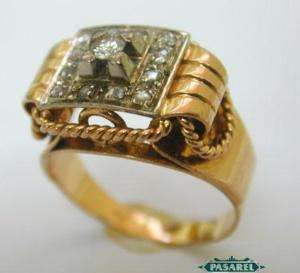 18k Yellow Gold Diamond Ring France 1940s Size 7.25