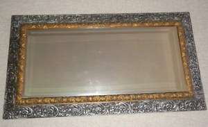 GILT & SILVER ANTIQUE CARVED WOOD MIRROR ~49 x 26