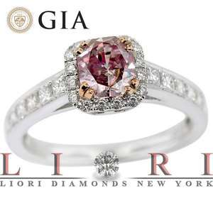 GIA CERTIFIED NATURAL FANCY PINK DIAMOND ENGAGEMENT RING 18K   FD 274