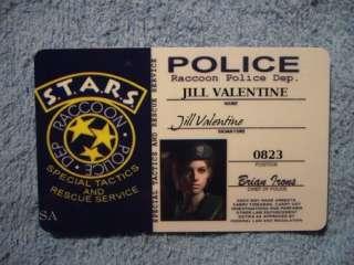 Resident Evil S.T.A.R.S ID Card RPD Jill Valentine Prop