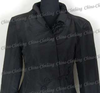 Chinese Womens Handmade Satin Clothing Jacket Coat Outerwear Black L