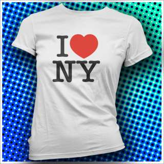 Love New York Womens Girls White T Shirt Top 80s WOW