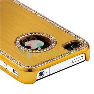 Bling Diamond Gold Back Hard Case+AUX Cable+Car Charger For iPhone 4