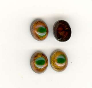 RARE BROWN WITH GREEN PEACOCK EYE Antique Glass Flat Back Cabochons