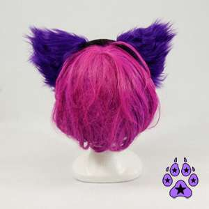 KITTY cat cosplay Goth Anime Hat EARS Neko furry HEADBAND fur PURPLE